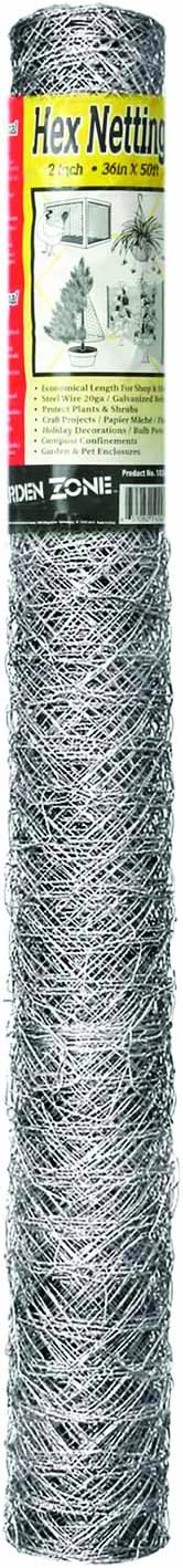 Garden Zone 100050574 36' x 50' 20-Gauge Galvanized Hex Netting, White