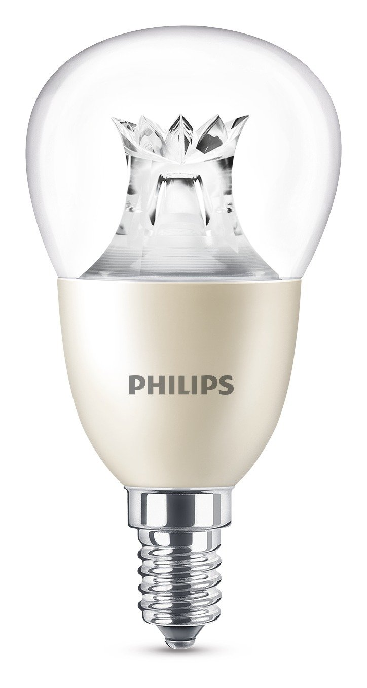 Philips LED Warm Glow E14 Small Edison Screw Dimmable Mini-Globe Light Bulb, Clear, 8 W (60 W)