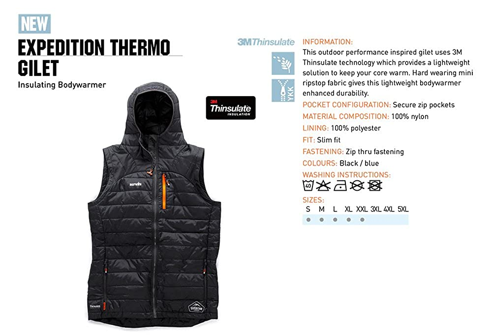 Scruffs Expedition Thermo 3M Gilet Black S-XXL Thinsulate Bodywarmer