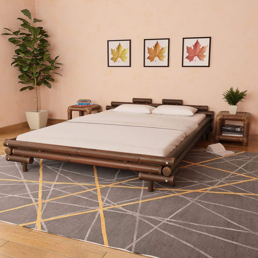 junhaofu Bambusbett 160 x 200 cm Dunkelbraun Möbel Betten & Zubehör Betten & Bettgestelle