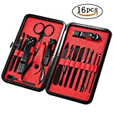Mens Manicure Set - Mifine 16 In 1 Stainless Steel Professional Pedicure Kit Nail Scissors Grooming Kit with Black Leather Travel Case (Red)