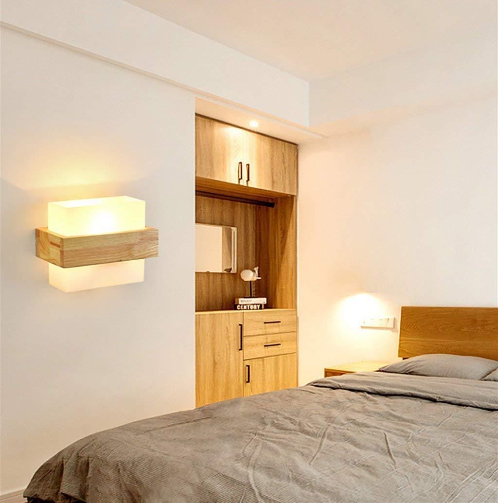 ATR Wandlampen LED Wandleuchte aus Holz Nachttischlampe Schlafzimmer Wandleuchte Kreative Einfache Balkon Gang Wandleuchte Wohnzimmer Wandleuchten Wandlampen