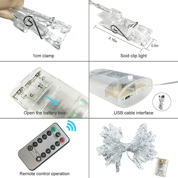 50 Leds Fotolichterkette,SanGlory USB Powered Clip Lichterkette ...