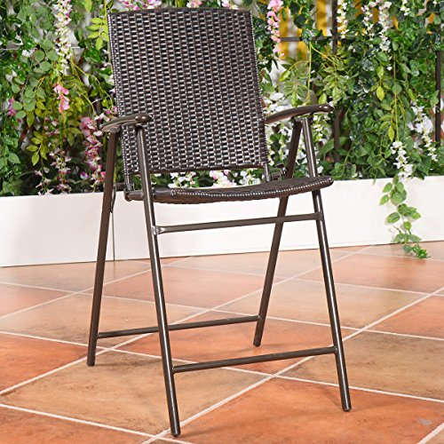 Giantex Folding Wicker Rattan Bar Chairs Tall Stool With