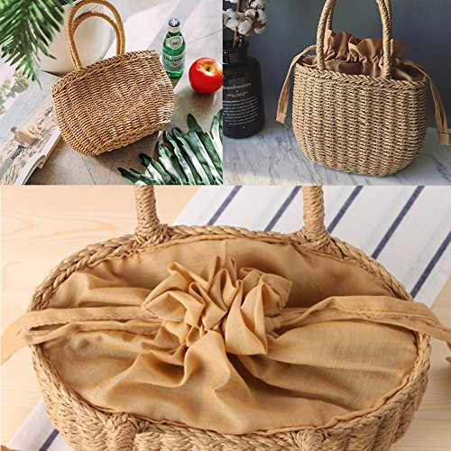 Women's Travels Handmade Bloomma Summer Rattan Woven Beach Tote for Bag Beaches Parties Perfect Shopping Handbag wt6d6qU