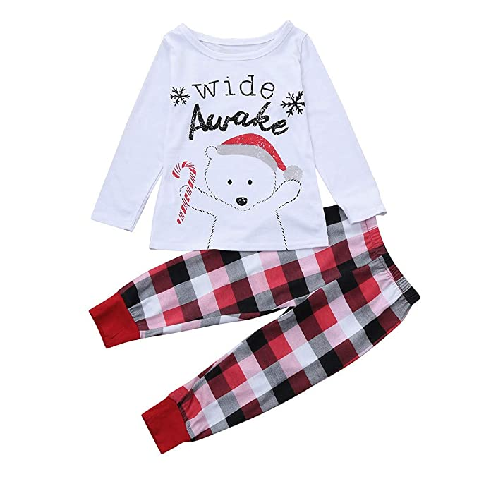 BBsmile Pijamas de Hombres/Mujer/Nino/de la Familia a Juego de Navidad Impresión de Navidad Conjunto de Pijamas Blusa + Pantalones de celosía Ropa Interior ...