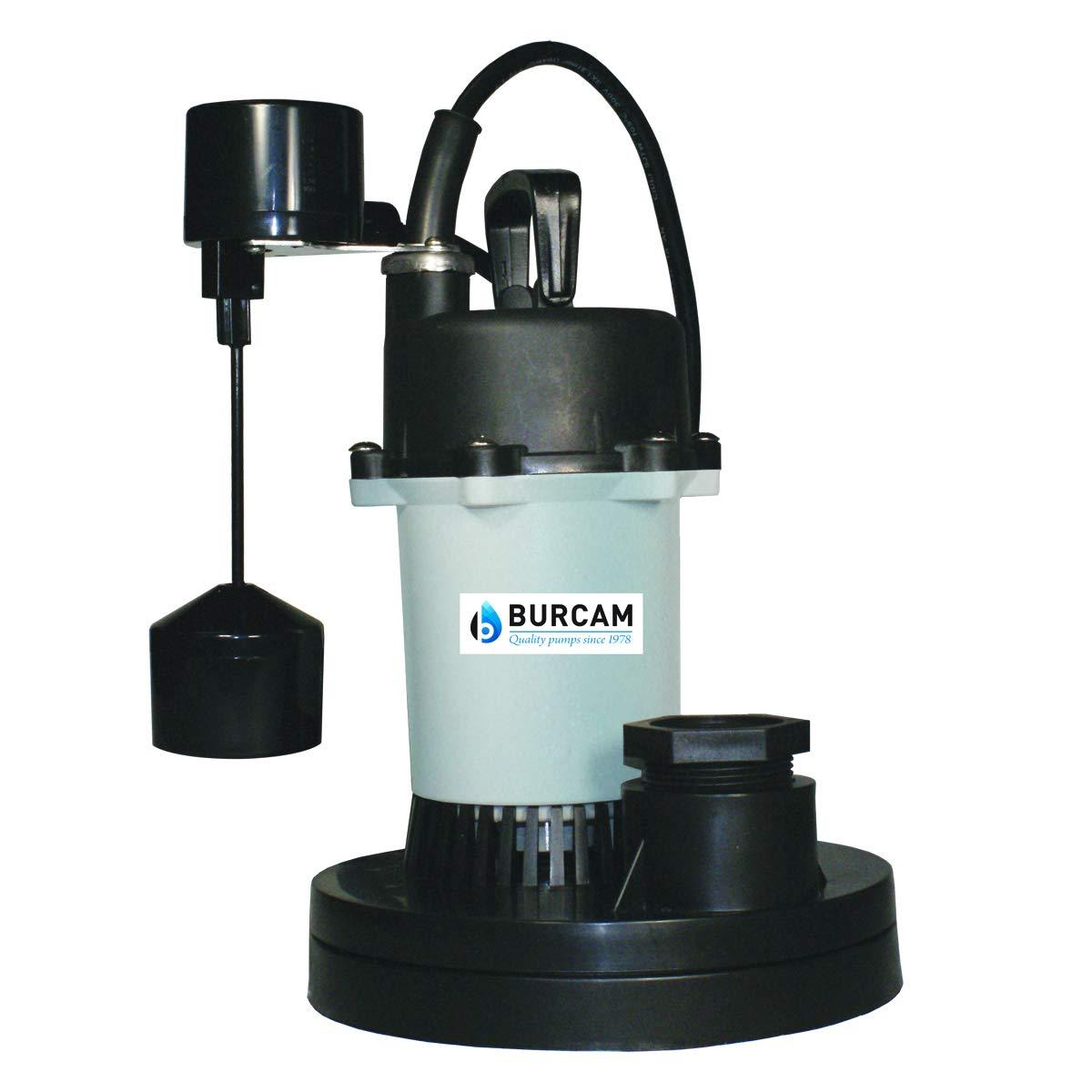 BURCAM 300610Z 1/3 HP Zinc Submersible Sump Pump With Vertical Float Switch