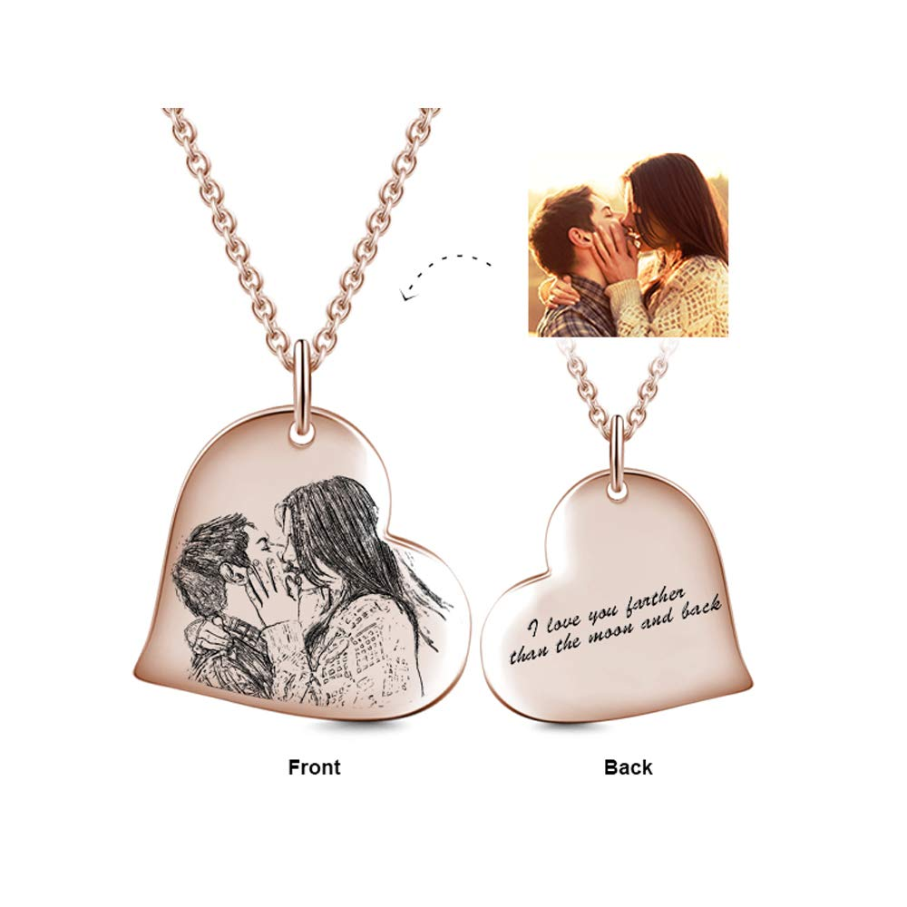 LONAGO Personalized Sketch Photo Necklace Sterling Silver Custom Your Dog/Cat/Family/Friend Picture Heart Shape Pendant 18K White Rose Gold Plated (Rose-Gold-Plated-Copper)