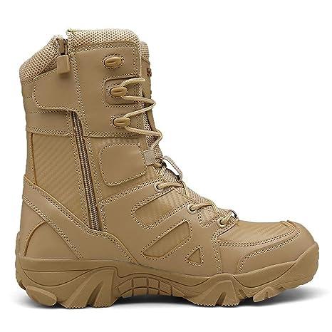 AZLLY Stivali da Uomo Militari in Pelle di Alta qualità