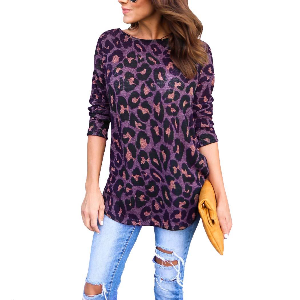 Mansy Womens Casual Long Sleeves Backless Leopard Print Shirt At