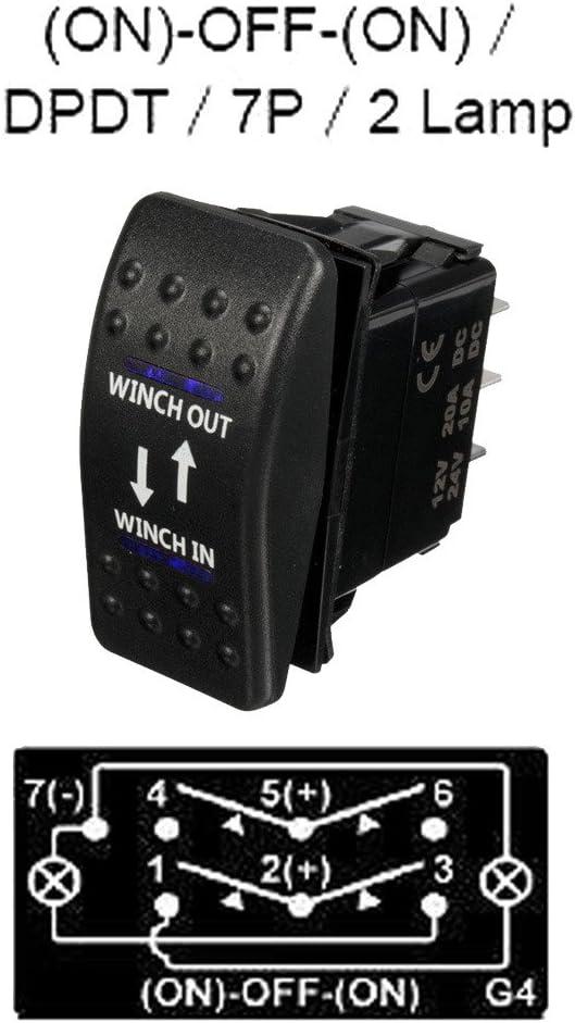E Support/™ Coche de 12V 20A 24V 10A LED Azul Interruptor de Palanca basculante luz 7 Pines moment/áneo Winch in out