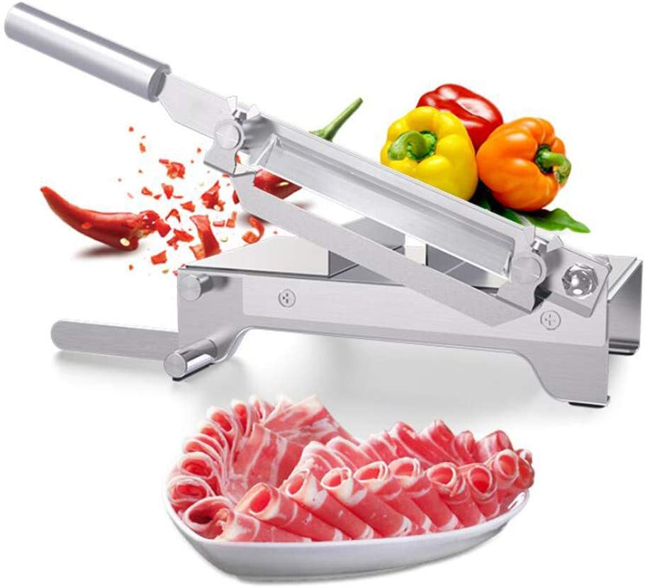 CGOLDENWALL Manual Frozen Meat Slicer Stainless Steel Meat Cutter Beef Mutton Household Roll Meat Vegetable Food Slicer Slicing Machine for Home Cooking Kit of Hot Pot