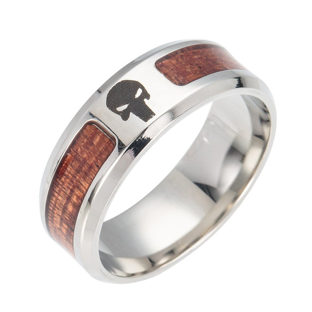 Baroco Stainless Steel Rings Mosaic Wood Semi-Circle Ring for Gift naturestonejewelry
