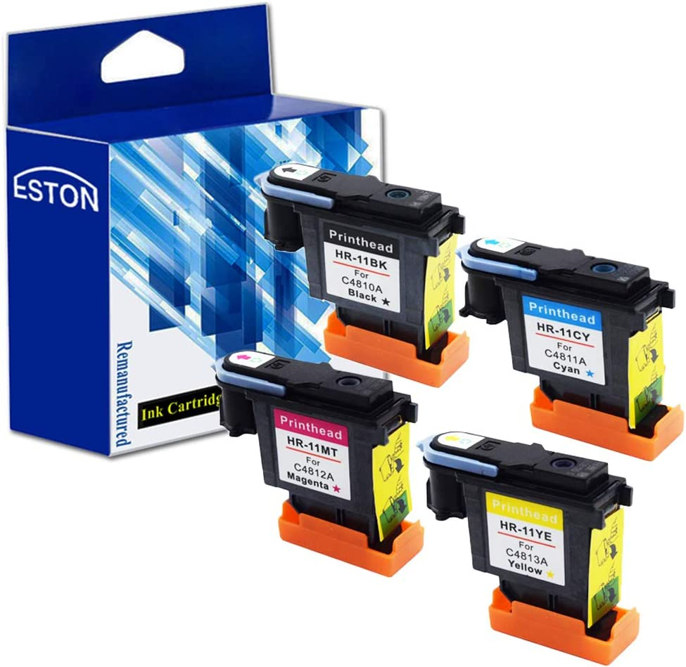 ESTON Multipack Replacement for HP 11 BK C M Y Printhead Fit for HP Designjet 70 90 100 110 500 510 500ps 800ps 9110 K850