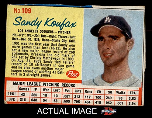 1962 Post Cereal # 109 RED Sandy Koufax Los Angeles Dodgers (Baseball Card) (Has thin Red Lines around stats) Dean's Cards 4 - VG/EX Dodgers