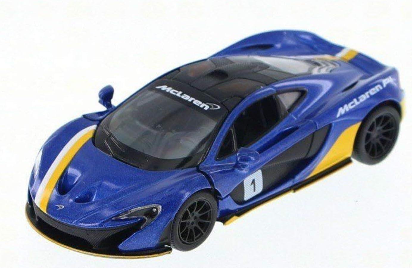 12.5cm M/étal moul/é sous Pression Bleu M/étallique D/écor de Course ouvrant des Portes Pullback Go Superpower Kinsmart Voiture de Collection McLaren P1 /à l/échelle 1:36