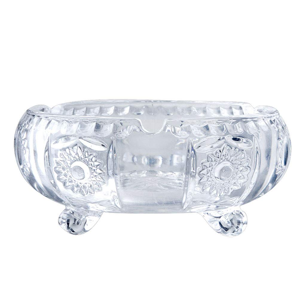 ZDD Round Crystal Glass Ashtray/Creative Personality Home Practical Ashtray/Decorative Ornaments Gift Four Optional (ø13.5cm H6.5cm) (Color : A)