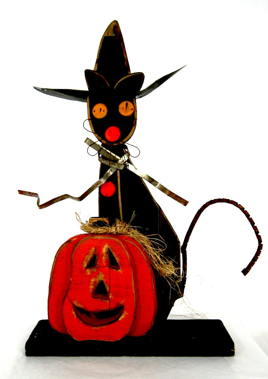 Halloween Wood Black Cat with Witch Hat and Pumpkin - 23''