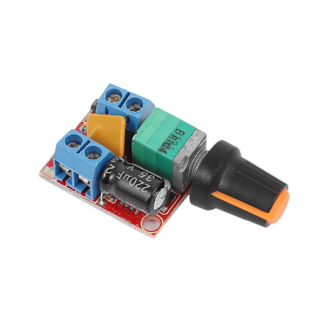 WINGONEER DC Motor Speed Control Driver Board 3V-35V 5A PWM Controller Stepless DC 3V 6V 12V 24V 35V Variable Voltage Regulator Dimmer Governor Switching Build with LED Indicator and Switch Function