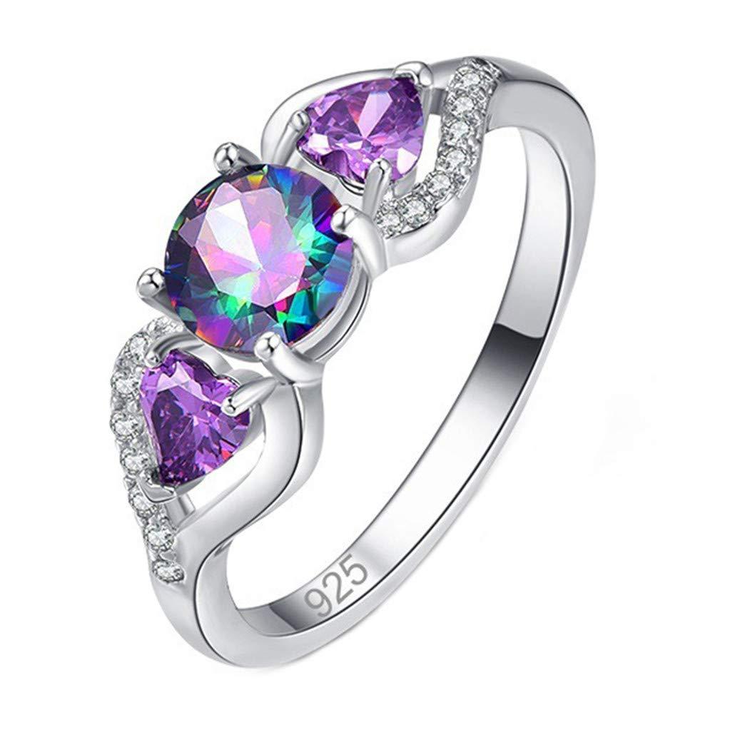 HAOWANG Women Rings Elegant Water Drop Diamond Round Colorful Ring Charm Jewelry Gift Size 6