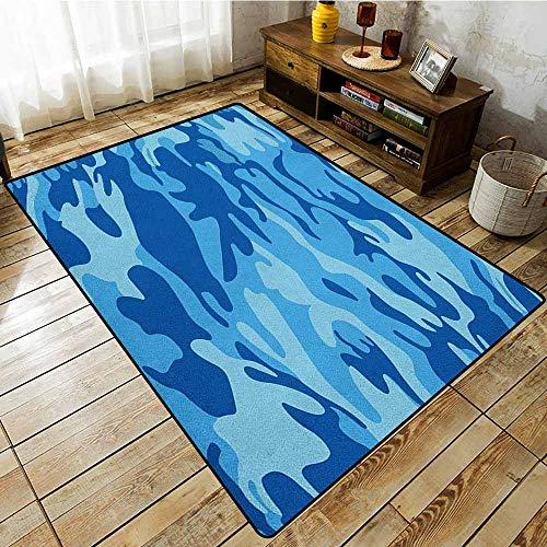 Large Area Rug,Camouflage,Abstract Camouflage Costume Concealment from The Enemy Hiding Pattern,Rustic Home Decor Pale Blue Navy Blue]()
