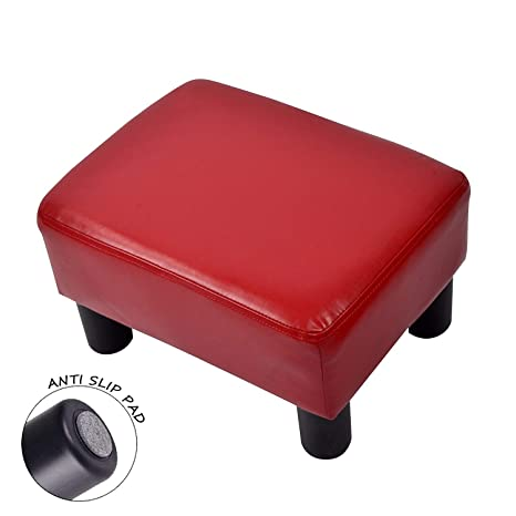 Fabulous Ottoman Footrest Stool Pu Leather Small Chair Seat Couch Red Machost Co Dining Chair Design Ideas Machostcouk