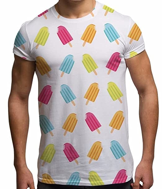 All Over Print Sublimation T Shirt Graphic Tees Mens Ice Lolly 3D T-Shirts -