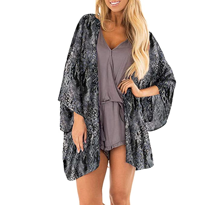 Fashion Women Vintage Print Kimono Loose Half Sleeve Shawl ...