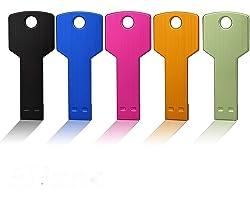JUANWE 5 Pack 16GB USB Flash Drive USB 2.0 Metal Thumb Drive with Key Shape Design Jump Drive Waterproof Memory Stick Portabl