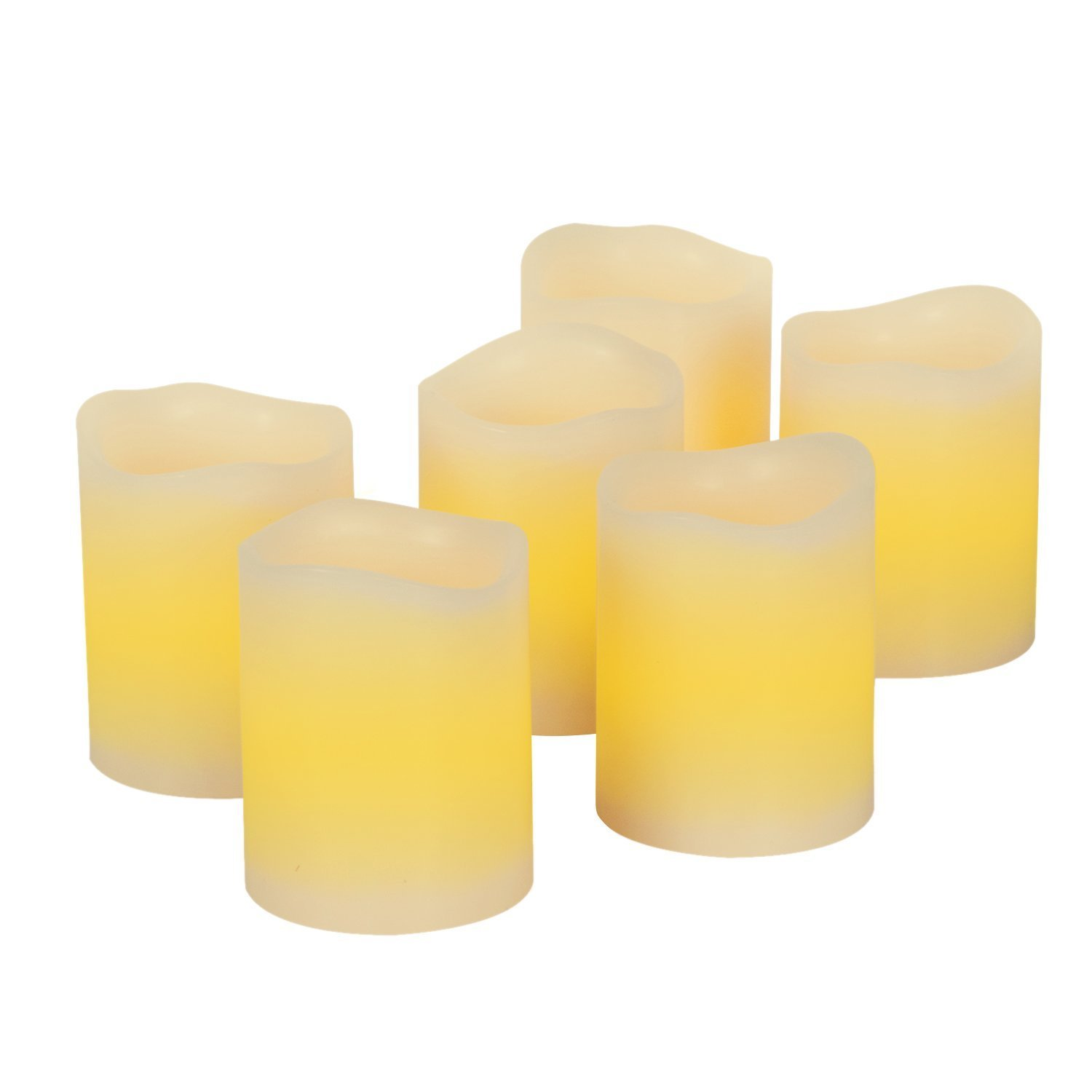 Kohree Real Wax Flameless Candles with Built-in Daily-Cycle Timer, Outdoor Battery Operated Led Candles Light - 6 Set Votive Candles, Yellow, Melted Edge