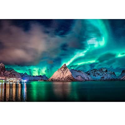 JUROUXIYUJI Jigsaw Puzzle 1000 Piece Wooden Puzzle Northern Lights Force of Nature Family Decorations, Unique Birthday Present Suitable for Teenagers and Adults Each Puzzle Measures 7550cm: Home & Kitchen