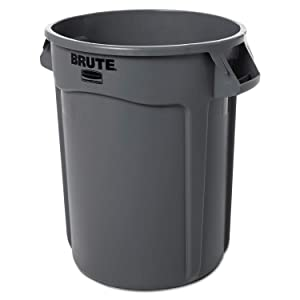Rubbermaid 2632 Brute Trash Can, Commercial-Grade 32 gallon Gray Garbage Can (EA)