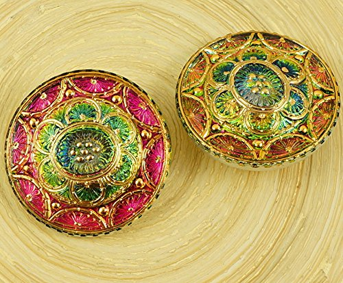 1pc Crystal Flower Star Gold Green Yellow Purple Dichroic Vitrail Handmade Czech Glass Button Size 14 31.5mm