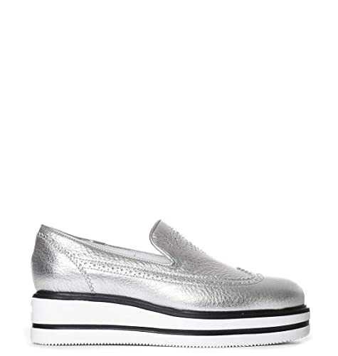 Hogan - Zapatillas de Otra Piel para Mujer Plateado Plata, Color Plateado, Talla 37.5 EU: Amazon.es: Zapatos y complementos