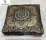 Indian tapestry meditation cushion boho floor cushion handmade pillow insert boho seating pouf ottoman indian pillow shams boho mandala dog bed & kids bedding bohemian floor pillow (Cover Only)
