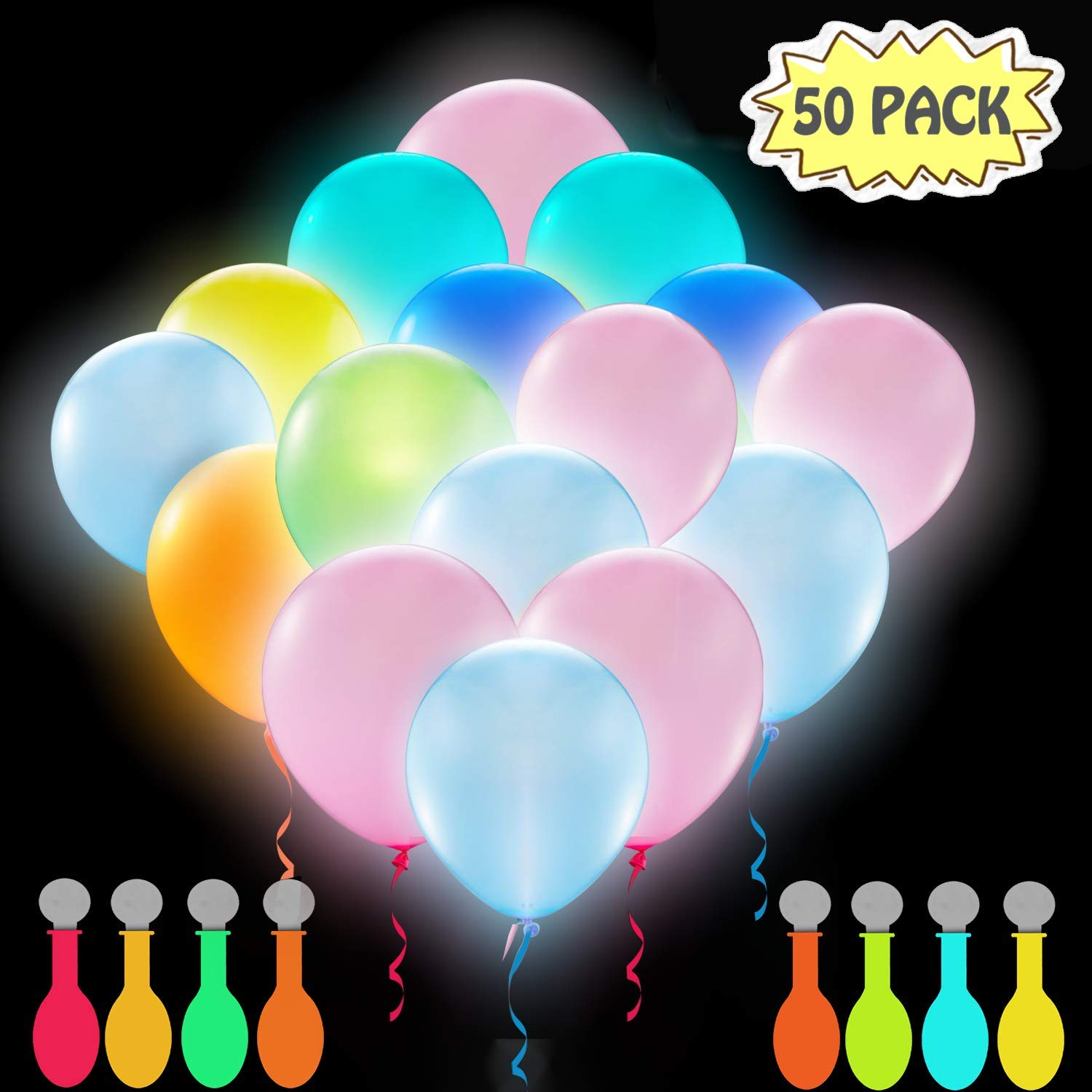 POKONBOY 50 Pack LED Light Up Balloons, Glow in the Dark Party Supplies LED Balloons Neon Party Supplies for Birthday Wedding Festival Easter (Mixed Color) by POKONBOY
