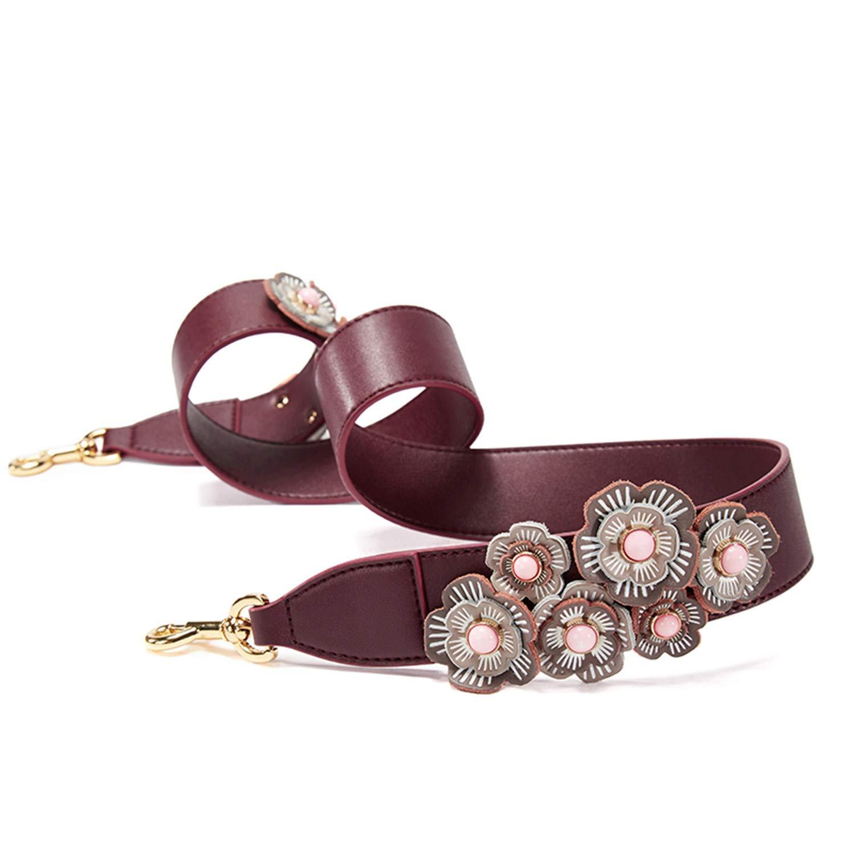 Angelato Vintage Style Flower Shoulder Strap Split Leather Women Bag Strap Wide Belt Sauce Red 103Cm3.8Cm,Onecolor,Onesize