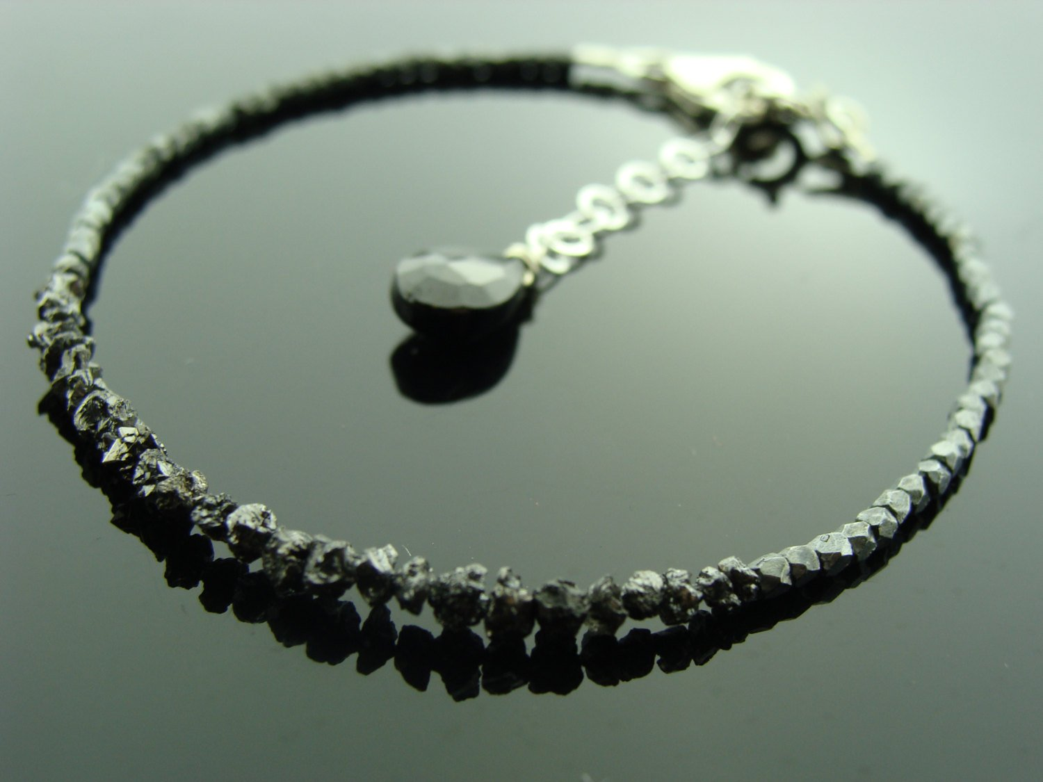 Genuine Black Raw Rough Uncut Diamond and Black Sterling Silver Bracelet