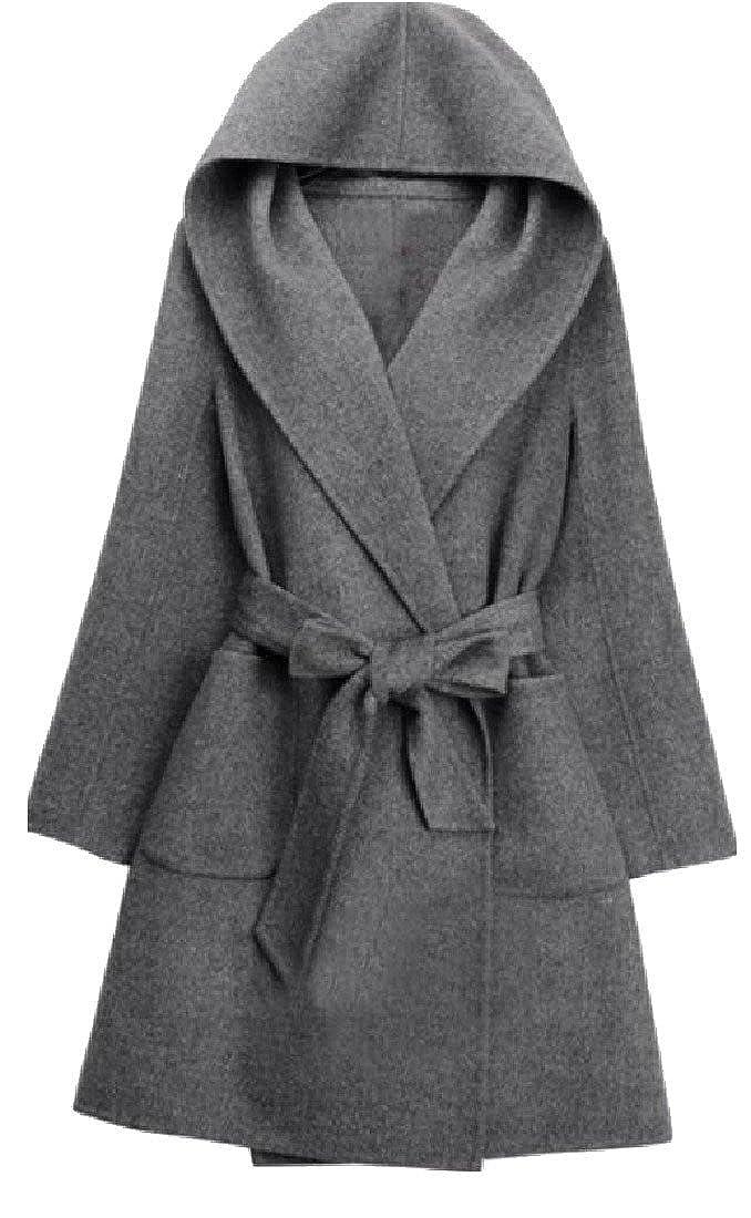 Doufine Womens Comfort Hooded Cashmere Wrap Autumn Winter Plus Size Pea Coat