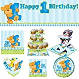 [ 1st Birthday Complete Party Kit for 16 ]: Bear Blue (Plates, Napkins, Table Cover, Giant Banner, Cupcake Stand, High Chair Kit & Treat Boxes)