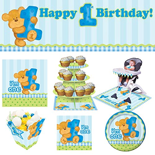 [ 1st Birthday Complete Party Kit for 16 ]: Bear Blue (Plates, Napkins, Cutlery Set, Table Cover, Giant Banner, Cupcake Stand, High Chair Kit & Treat Boxes)