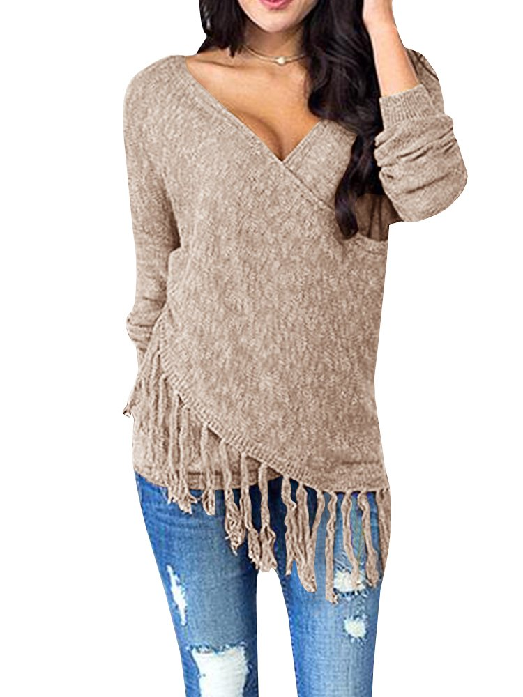 Womens Sweaters Long Wrap V Neck Off The Shoulder Fringe Knit Pullover Sweater Tunic Tops