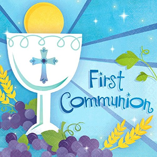 Pastel Blue First Communion Lunch Napkins Religions Party Disposable Tableware, 6.5