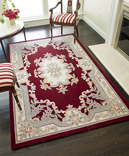 Rugs America RA21822 New Aubusson Area Rug, 5' x 8', Burgundy