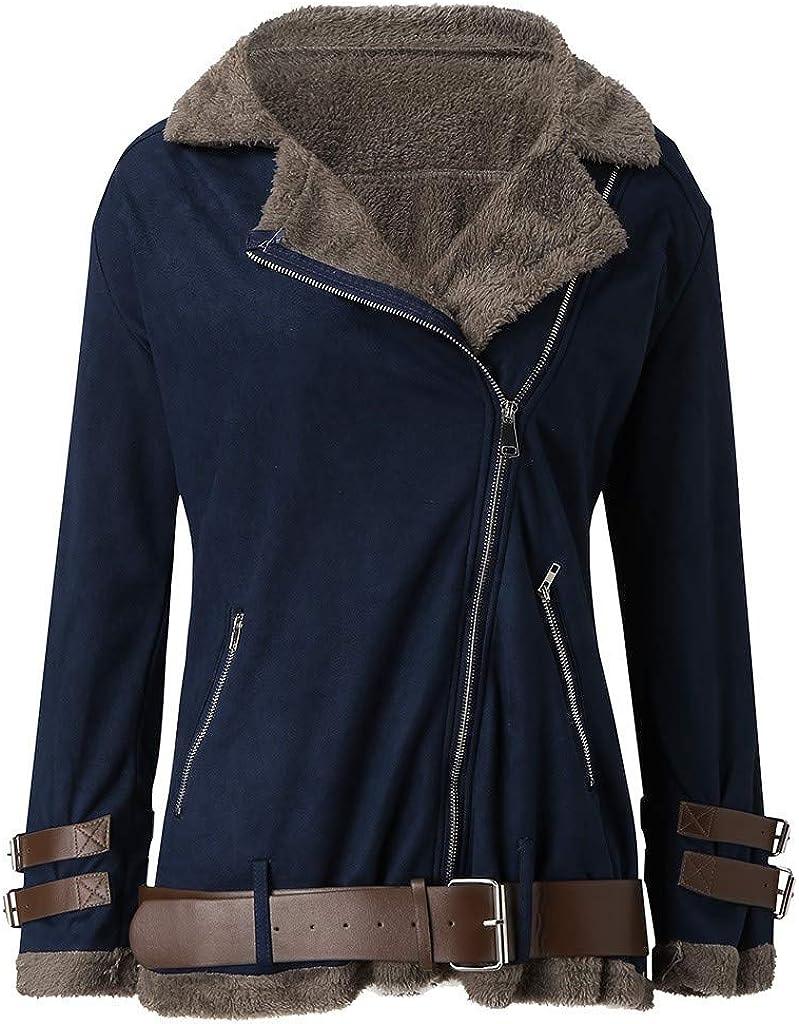 Wtouhe Fashion Women's Coats Ladies Casual Winter Warm Faux Fleece Oversize Coat Outwear Warm Lapel Biker Motor Jacket 1blue