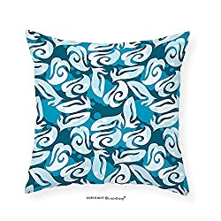 VROSELV Custom Cotton Linen Pillowcase Classic Shabby Chic Trendy Stylish Fashion with Elegance Shapes Artwork for Bedroom Living Room Dorm Petrol Blue Turquoise 18x18