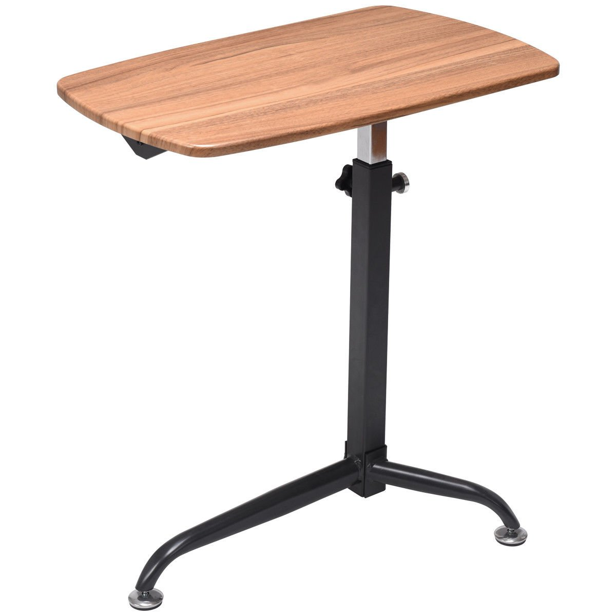 Tangkula Laptop Cart Home Rolling Over Bed Sofa Side Table Height Adjustable Wood Mobile Laptop Stand Desk Laptop Holder with Wheels (Wood)