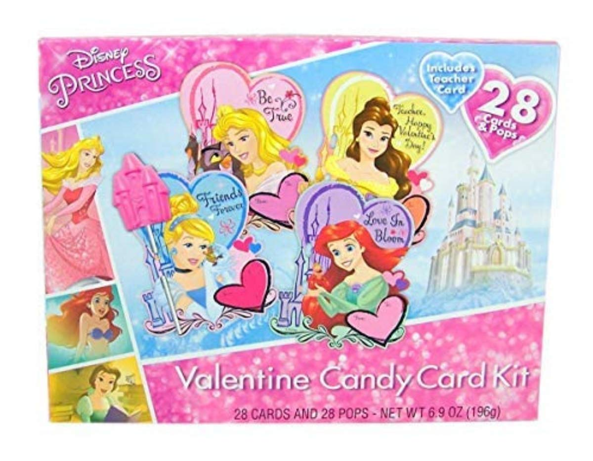 Amazon.com : Disney Princesses Valentines Day Candy Card and Lollipop Classroom Exchange, 28 Count : Grocery & Gourmet Food