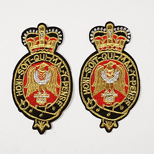 - Gold Bullion Embroidered Iron-On Badges, Embroidery Applique Patch by 2 pcs, 4-3/8