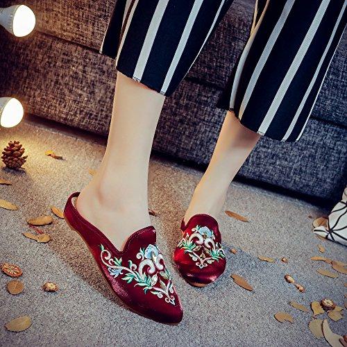 KHSKX-Die Neue Mode Tragen Hausschuhe Baotou Halb Wohnwagen Folk Satin Schuhe Schuhe Sandalen Inneneinrichtungsgegenstände Claret